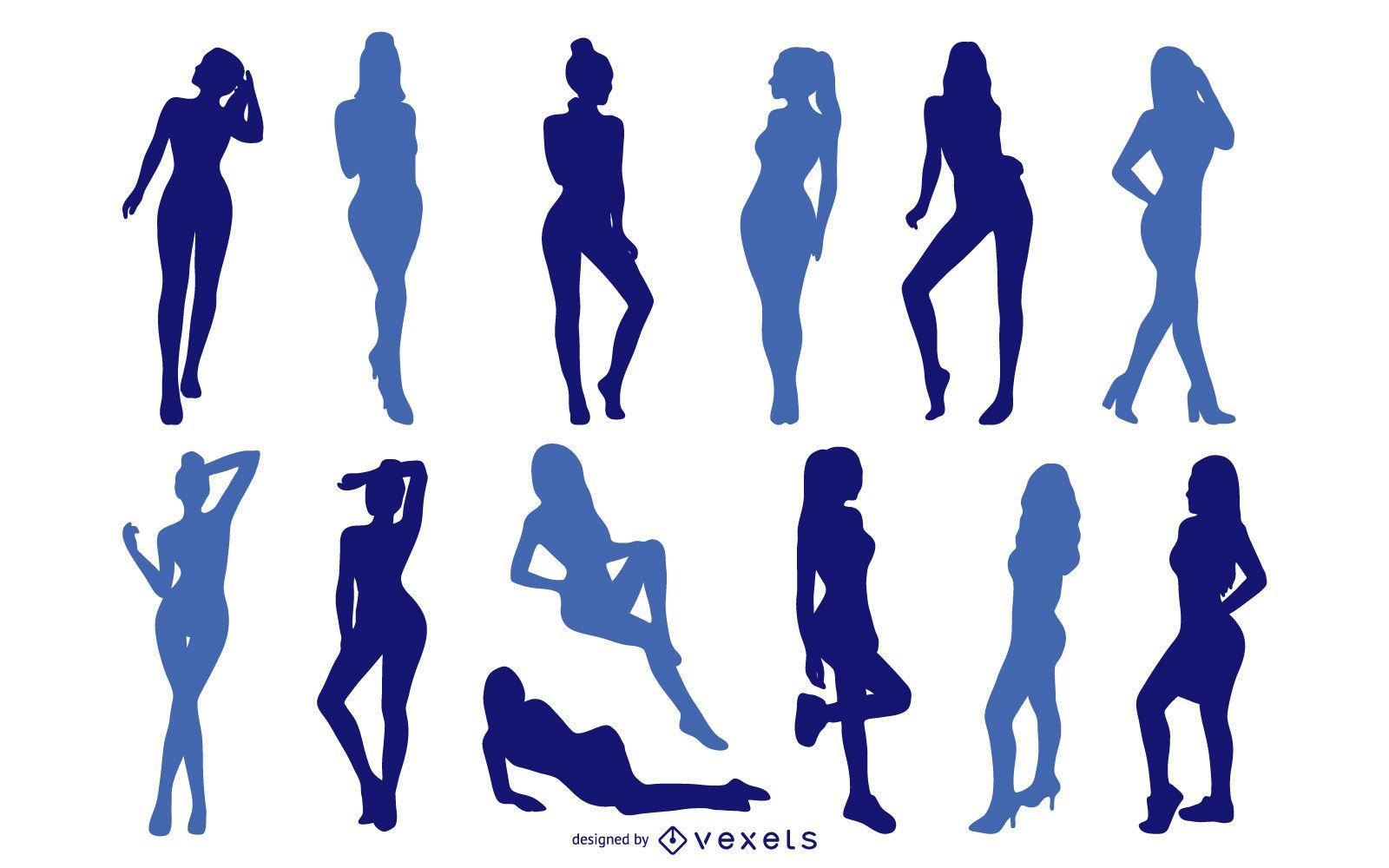 Sexy Girls Silhouette Set