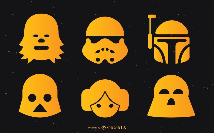 Conjunto de silhuetas de Star Wars