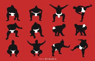 Conjunto de silhueta de lutador de sumô