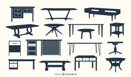 Mesa escritorio silueta vector set