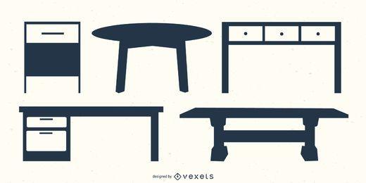 Conjunto de vetores de mesa mesa silhueta