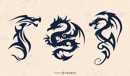 Conjunto de silhueta de dragão tribal