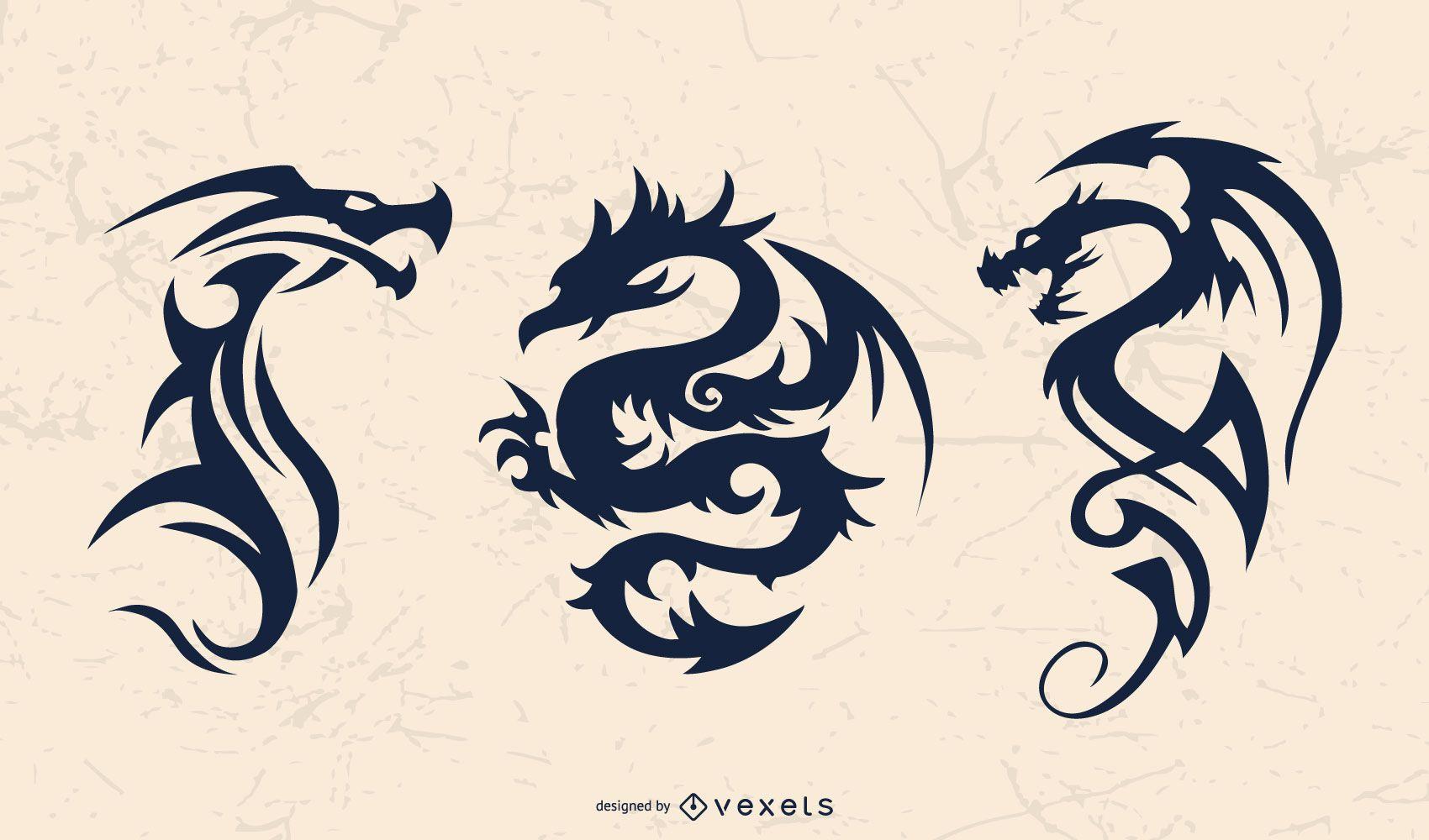 Tribal Dragon Silhouette Set
