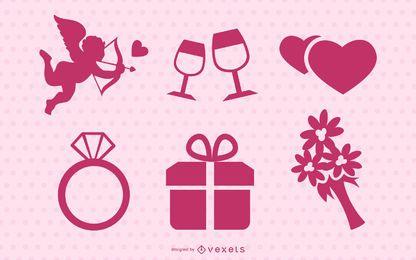 Conjunto de silueta rosa del día de San Valentín