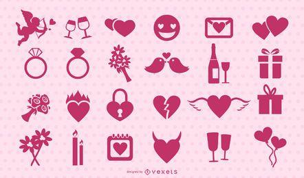 Conjunto de silhueta rosa de dia dos namorados