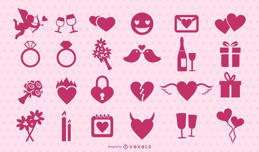 Conjunto de silhueta rosa para dia dos namorados
