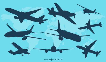 Flugzeug-Schattenbild-Vektor-Satz