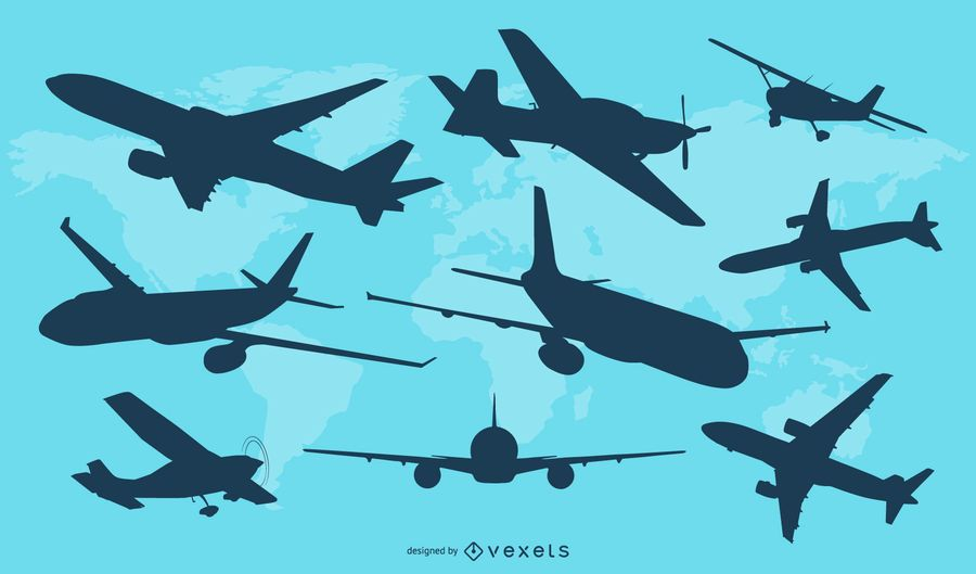 Airplane Silhouette Vector Set