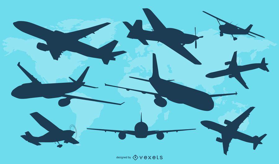Conjunto de vectores de silueta de avión