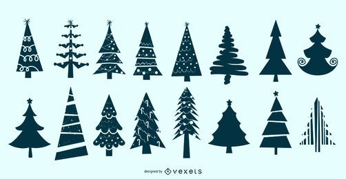 Christmas Tree Silhouette Vector Set