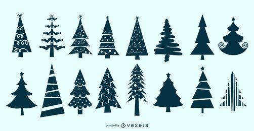 Weihnachtsbaum-Schattenbild-Vektor-Satz