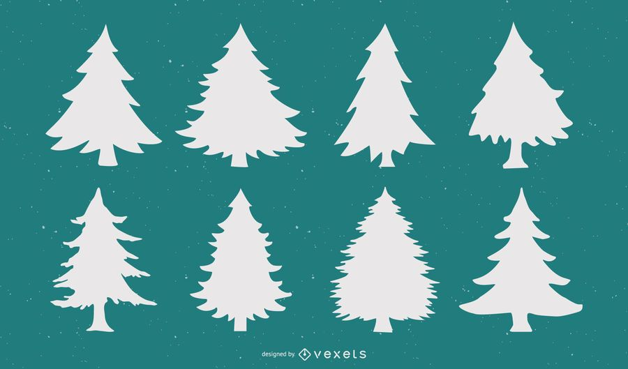 Christmas Tree Silhouette Vector Set