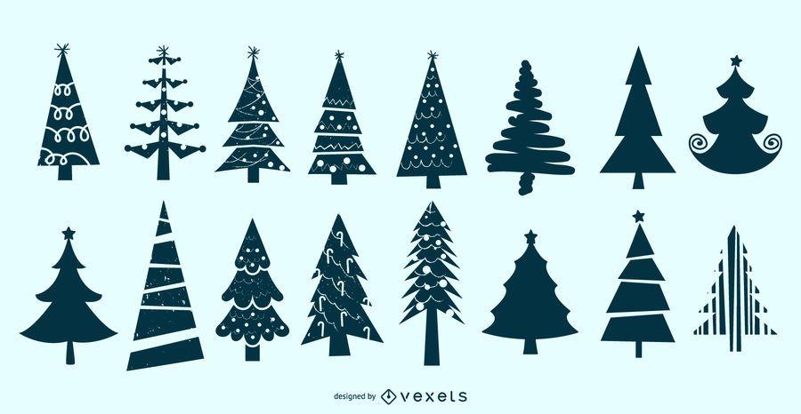 Conjunto de vectores de silueta de árbol de Navidad