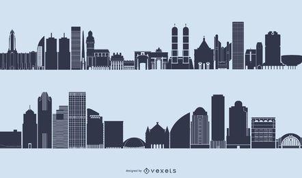 Generischer Skyline-Stadtbild-Schattenbild-Vektor