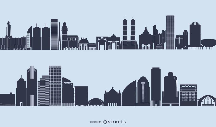 Vector de silueta de paisaje urbano de horizonte genérico