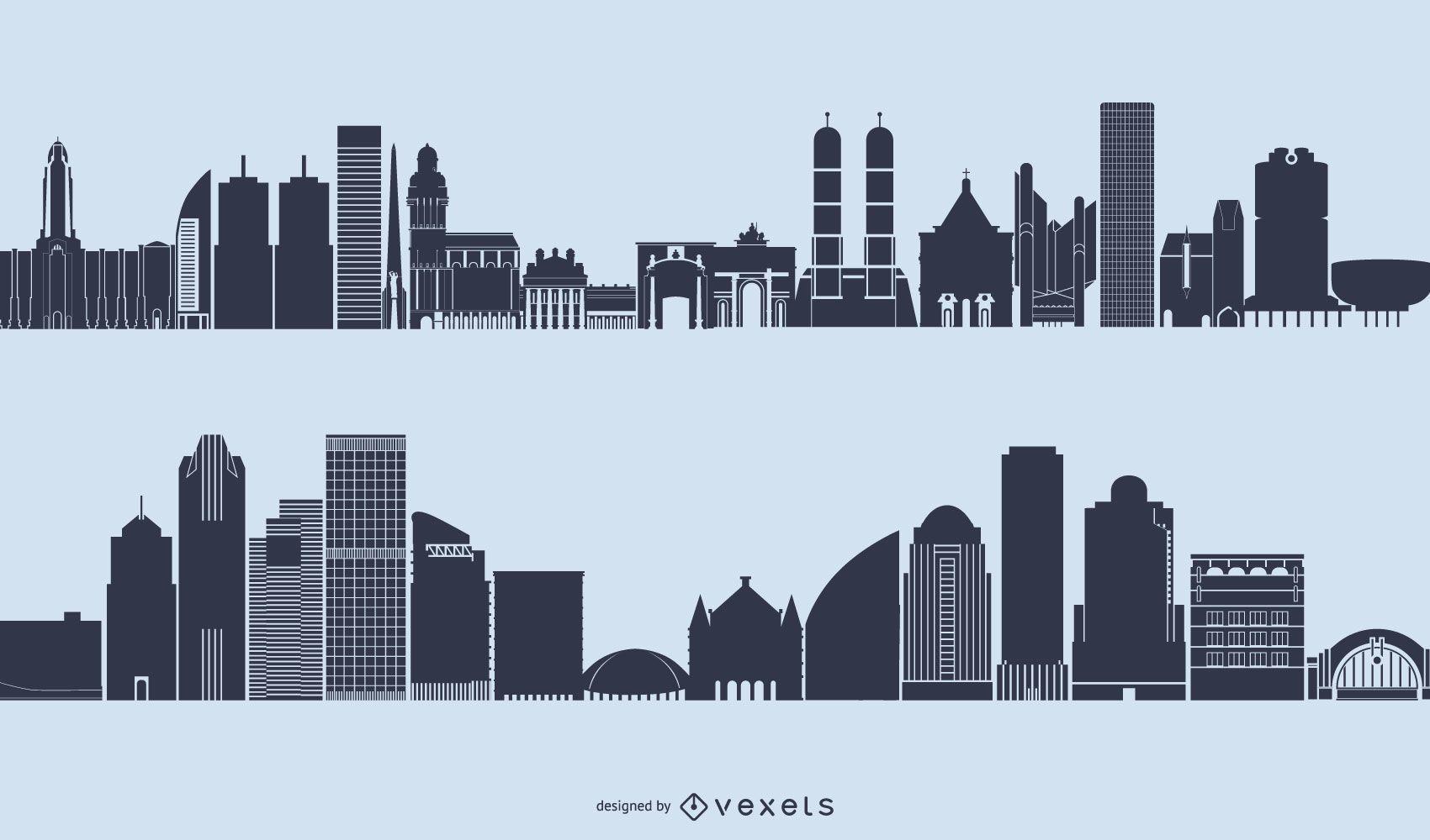 Generic Skyline Cityscape Silhouette Vector