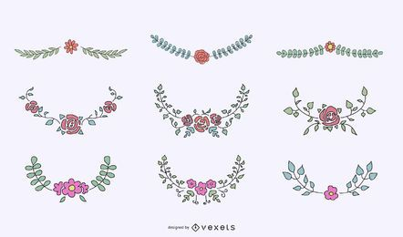 Floral crests ornamental set