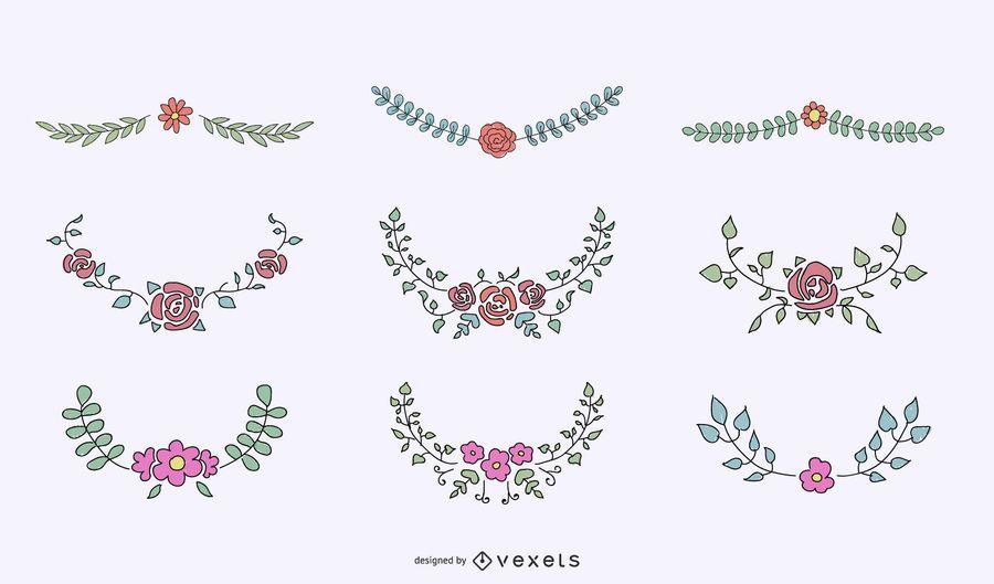 Conjunto ornamental de cristas florais