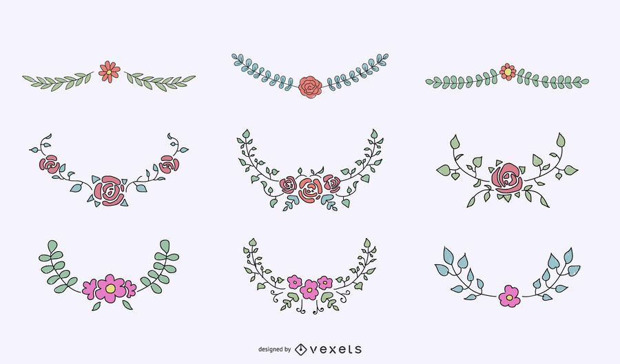 Floral crests ornamental set