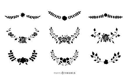 Conjunto de vetores de ornamento floral silhueta