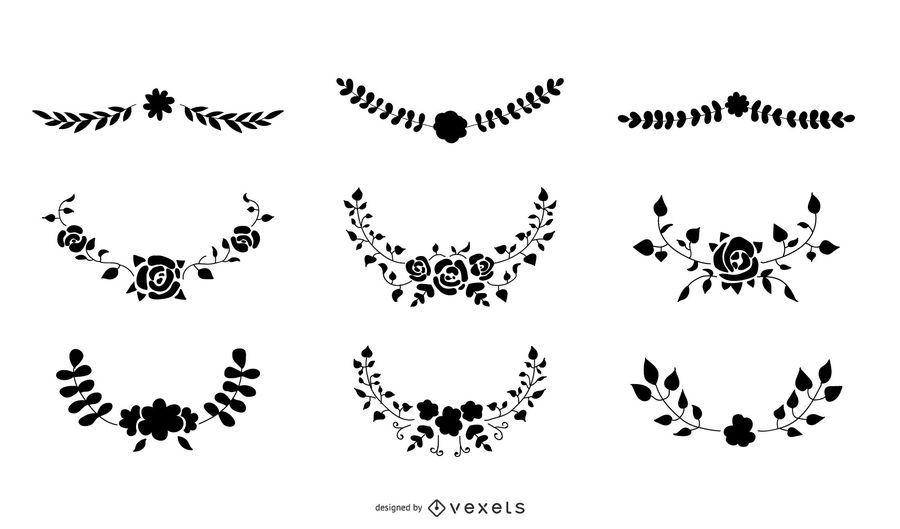 Conjunto de vectores de silueta de ornamento floral