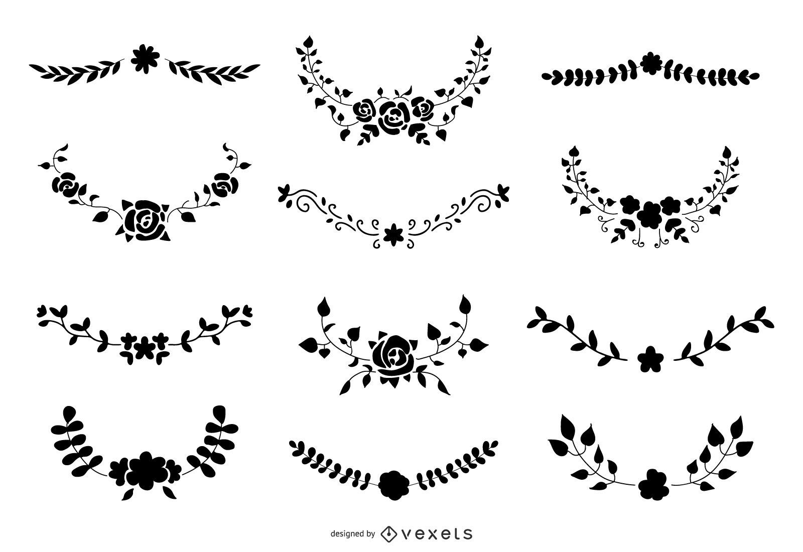 Floral Ornament Silhouette Vector Set
