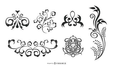 Vector Flourishes Silhouette Set