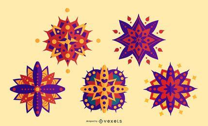 Conjunto de mandala colorida de Diwali
