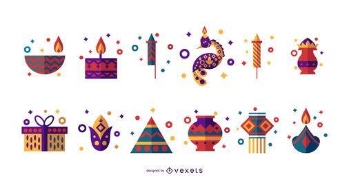 Conjunto de ícones plana de Diwali