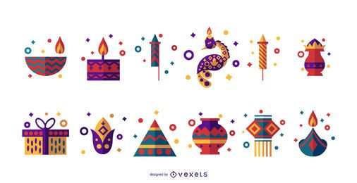 Diwali flat icon set