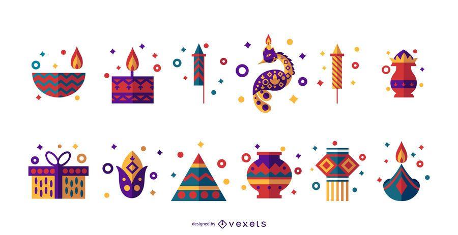Diwali flat icon set