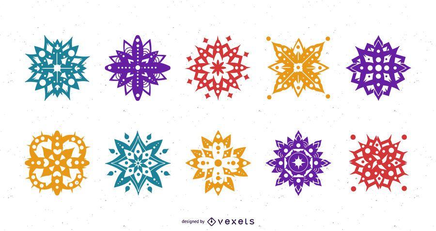 Conjunto de silueta de mandala de Diwali