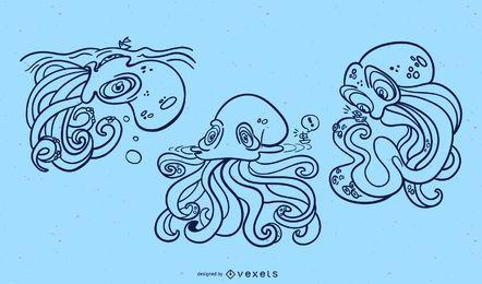 Conjunto de trazos de monstruo Kraken