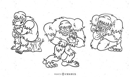 Sasquatch Cartoon Stroke Set