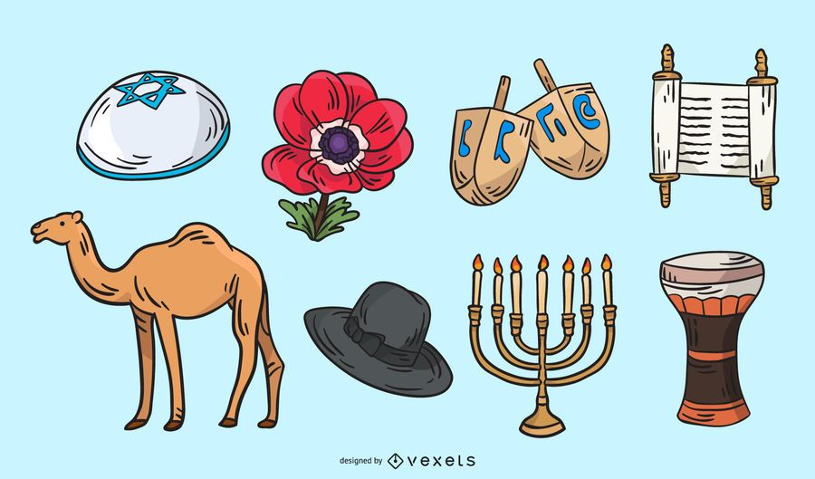 Conjunto de ilustração de elementos tradicionais de Israel