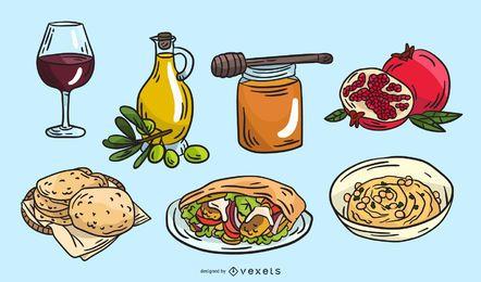 Conjunto de ilustración de comida tradicional de Israel