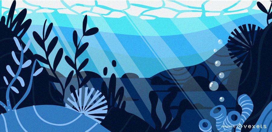 Ilustración plana azul submarina