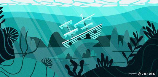 Ilustração plana de navio subaquático
