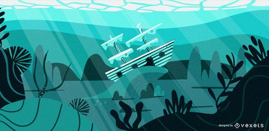 Underwater ship flat illustration