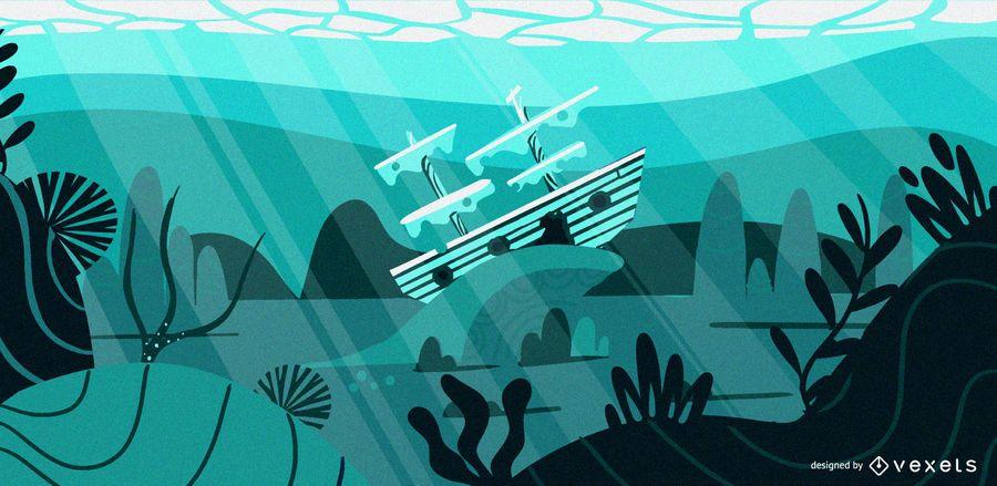 Underwater ship flat illustration