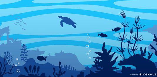 Projeto de fundo do mar subaquático