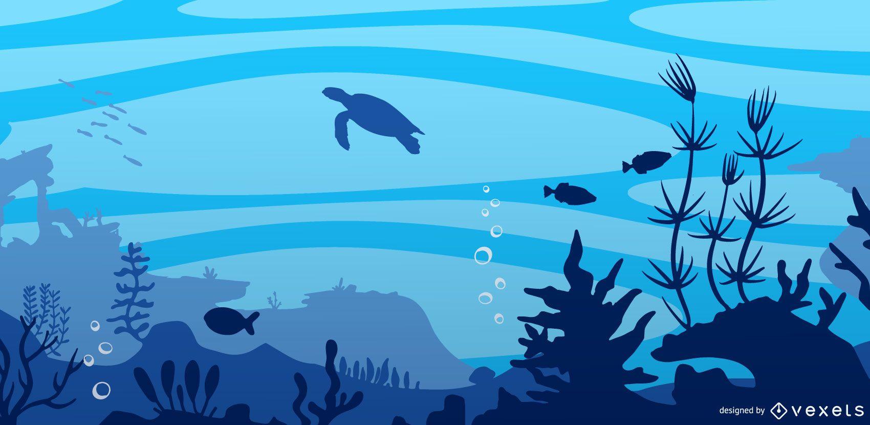 Diseño de fondo de mar submarino
