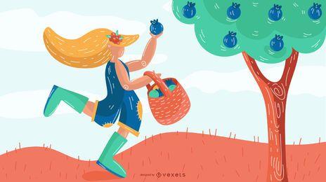 Ilustración feliz del vector de la muchacha del granjero