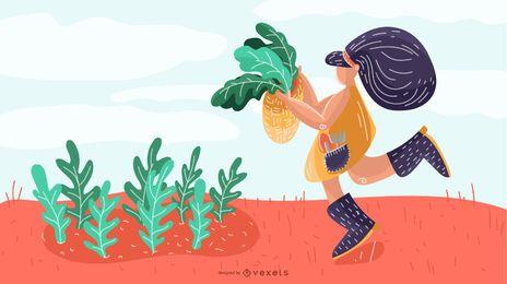 Desenho de ilustração de menina agricultora