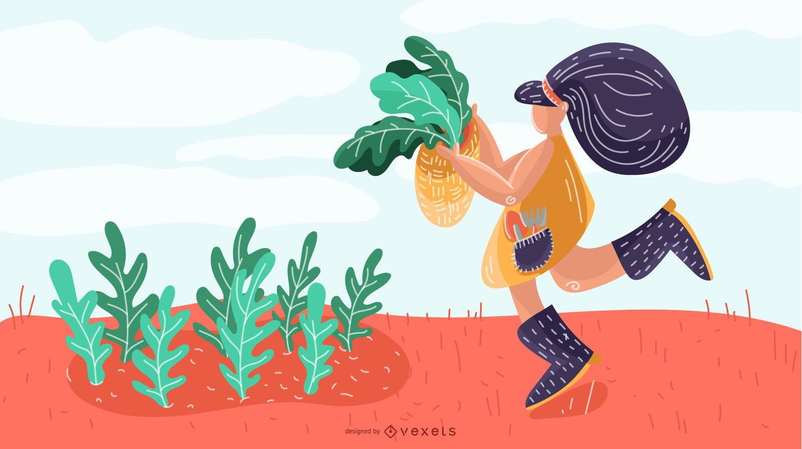 Desenho de ilustra??o de menina agricultora