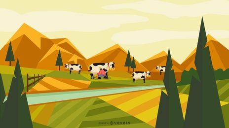 Design de paisagem de campo agrícola