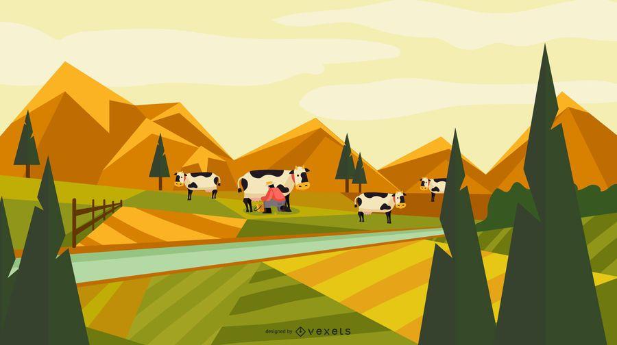 Diseño de paisaje de campo de granja
