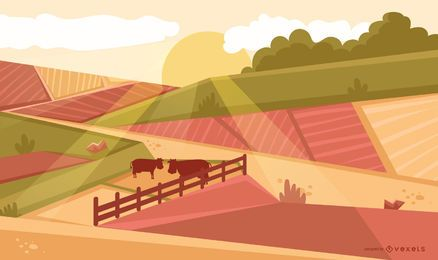Fondo del atardecer del campo de cultivo