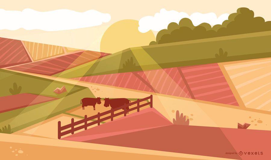 Landwirtschaft Feld Sonnenuntergang Hintergrund Vektor