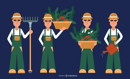Conjunto de diseño plano de personaje de granjero
